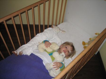 Carlien in haar oude bed